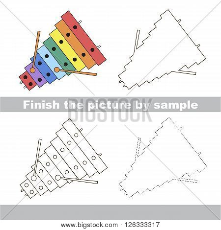 Drawing worksheet for children. Finish the picture and draw the cute Xylophone
