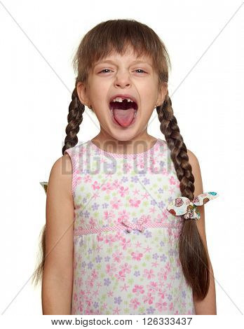 lost tooth girl child portrait having fun, studio shoot isolated on white background