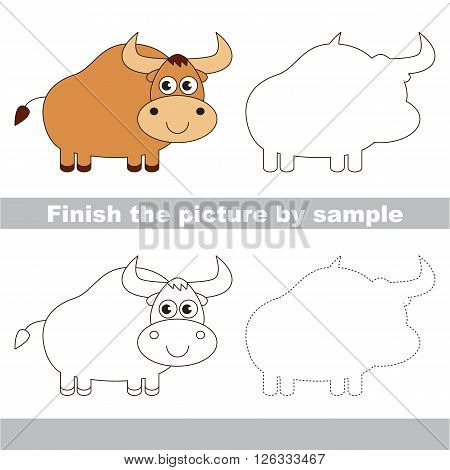 Drawing worksheet for children. Finish the picture and draw the cute Yak