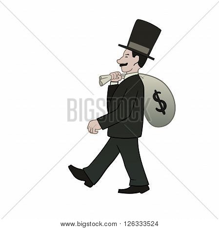 This is an illustration of businessman with bag of money