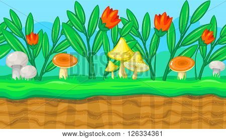 Seamless horizontal summer background with flowers and big colorful mushrooms for video game