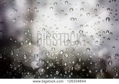 Vintage background of raindrops on a windowpane.