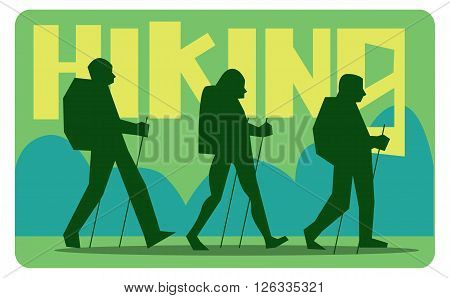 Silhouettes of tourists with sticks walking in the woods. Caption hiking.