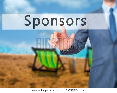 Sponsors - Businessman Hand Pressing Button On Touch Screen Interface.