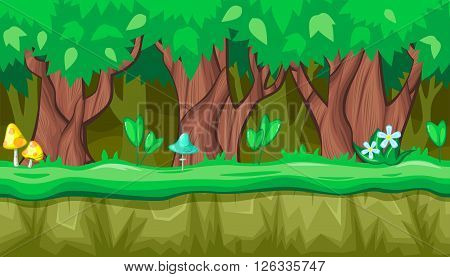 Seamless horizontal summer background with old trees and blue mushroom for video game