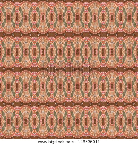 Abstract geometric seamless background. Dreamy ellipses pattern in ethnic style. Drawing with pale red, terracotta, brown and olive green elements with white wavy lines and outlines.