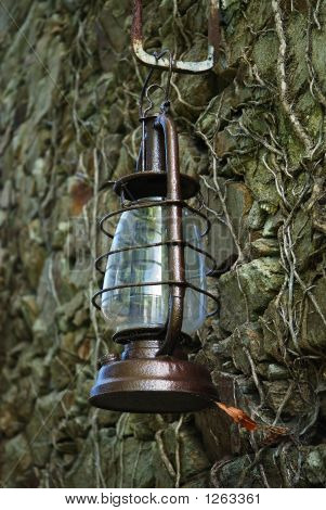 Kerosene Lamp On A Wall