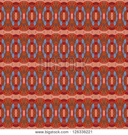 Abstract geometric seamless background. Drawing, ornate ellipses pattern in orange, red, terracotta and blue gray with black wavy lines and outlines.