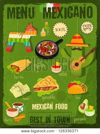 Mexican Food Menu Card with Traditional Spicy Meal in Retro Vintage Style. Vector Illustration.