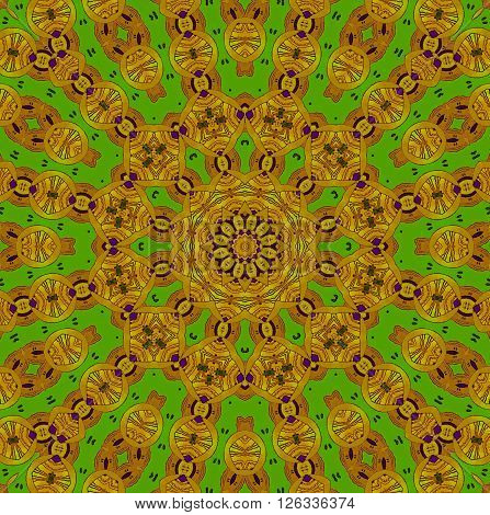 Abstract geometric seamless background. Ornate concentric circle ornament, drawing in yellow, ocher and light brown shades with purple elements on bright green.
