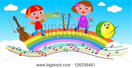 Cute smiling musical instruments and kids playing on rainbow.