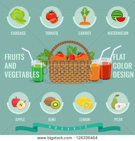 Fruits and vegetables icons set with solid flat color. Basket with full of organic vegetables. Organic Healthy food. Fresh fruit and vegetables with slice. Infographic in Fruit and vegetable concept.