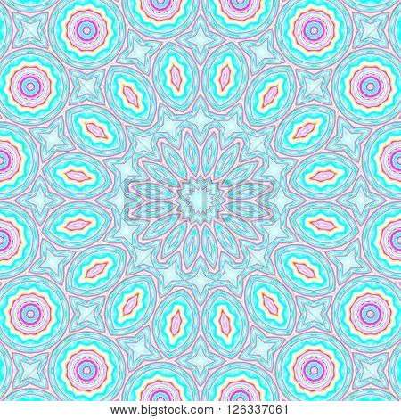 Abstract geometric seamless background. Concentric ornament with ellipses and circles in turquoise and light blue shades with elements in pink and yellow and violet outlines.