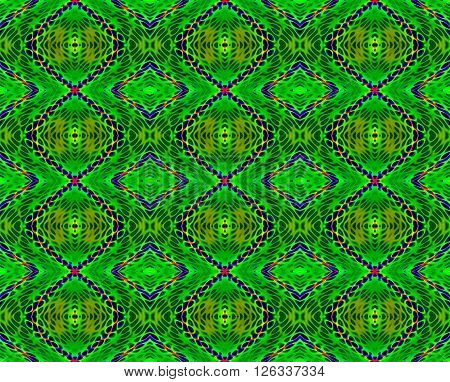 Abstract geometric seamless background. Ornate diamond pattern bright green, dark green, purple and orange.