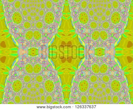 Abstract geometric seamless background. Intricate diamond and circles pattern in lemon lime green, violet, light blue and pink shades, ornate and extensive ornaments.