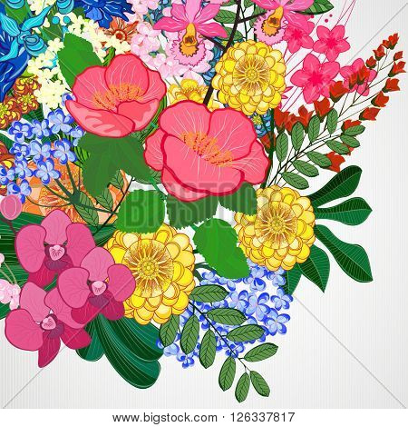 Illustration greeting card beauty and fashion. Background with flowers and leaves.