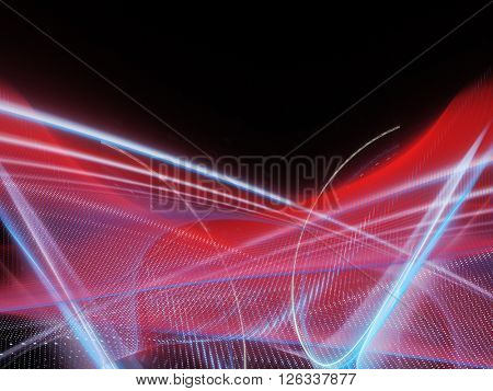 Abstract background element. Fractal graphics series. Blue and red colors on black.