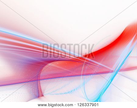Abstract background element. Fractal graphics series. Blue and red colors on white.