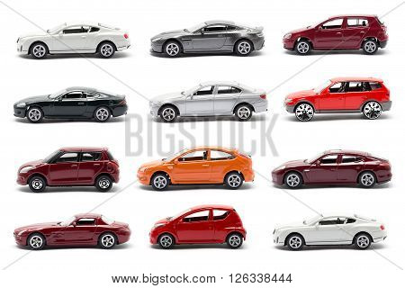 Side of the toy car isolated on white background