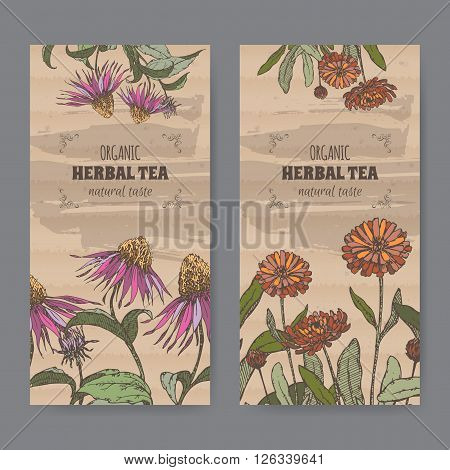 Set of two color vintage labels for calendula and echinacea herbal tea. Placed on cardboard texture.