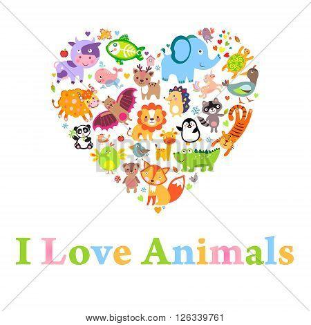 I love animals concept Heart vector Illustration
