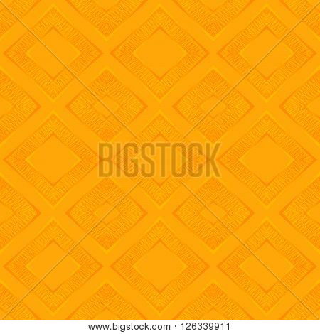 Abstract seamless hand drawn pattern of rhomb on orange background. Design element for background, textile, paper packaging and other. Vector illustration.