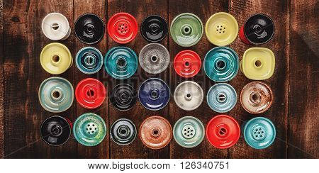 Colorful Bowl for hookah on wood background