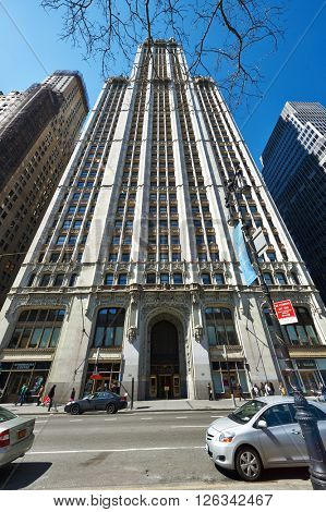 NEW YORK CITY - MARCH 31: Woolworth Building, March 31 2014 in New York, USA