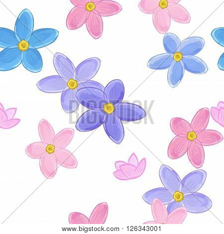 Stylish floral seamless pattern with forget-me-not. Forget me not flowers.