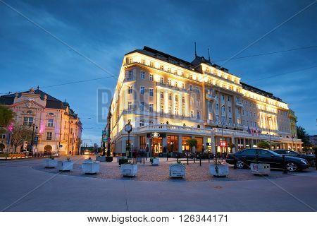 BRATISLAVA, SLOVAKIA - APRIL 18, 2016: Carlton hotel and Slovak philharmony in Hviezdoslav square in the old town of Bratislava on April 18, 2016.