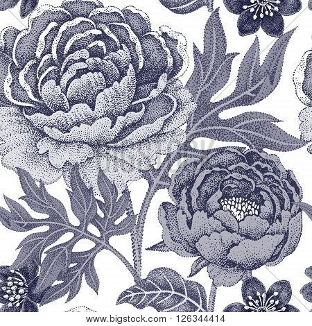 Floral seamless pattern for fabrics textiles wallpaper paper. Vector. Garden flowers peonies. Design Victorian style. Black and white.