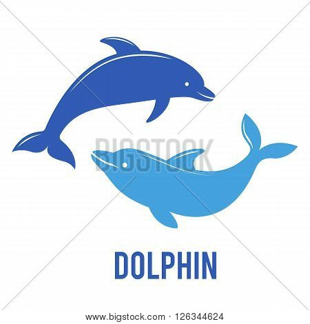 Silhouettes of the dolphins jumping. Company logo design. Dolphin Icon Vector. Dolphin Icon Art.