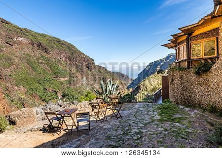 Restaurant In Barranco de Guayadeque During Sunny Day - Gran Canaria Canary Island Spain Europe