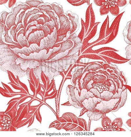 Floral seamless pattern on a white background for fabrics textiles wallpaper paper. Vector. Garden flowers peonies. Design Victorian style.