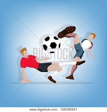 Football player fighting match France beat Romania