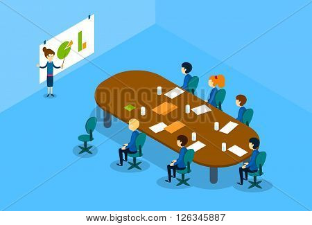 Businesswoman Show Graph Business People Group Conference Meeting Isometric Vector Illustration
