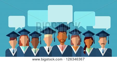 Student Group Graduation Gown Cap With Chat Box Flat Vector Illustration