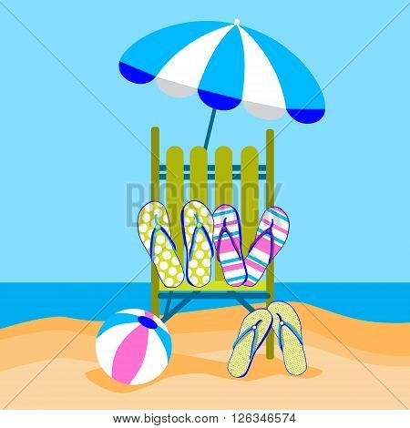 Summer Beach Vacation Sunbed With Umbrella Ball Flip Flops Sand Tropical Travel Flat Vector Illustration