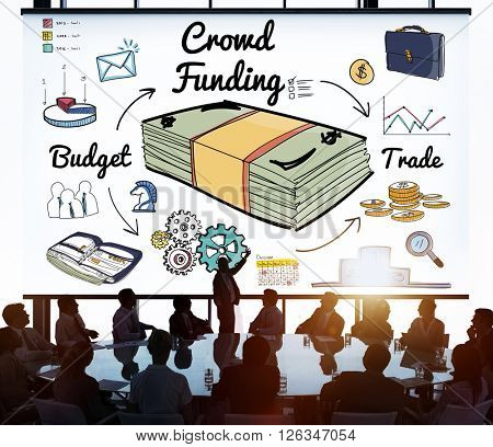 Crowd Funding Fundraising Financial Investment Support Concept