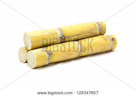 Sugarcane Cut into pieces isolated on white background