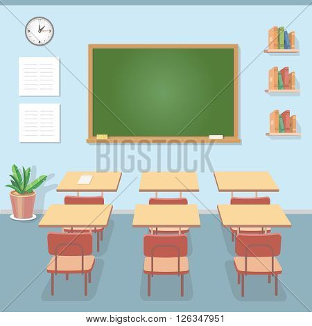 School classroom with chalkboard and desks. Class for education or training, board, table and study, flat illustration