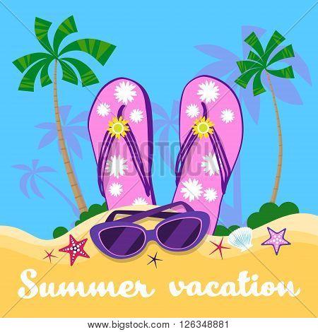 Summer Beach Flip Flops Sun Glasses Sand Tropical Vacation Flat Vector Illustration