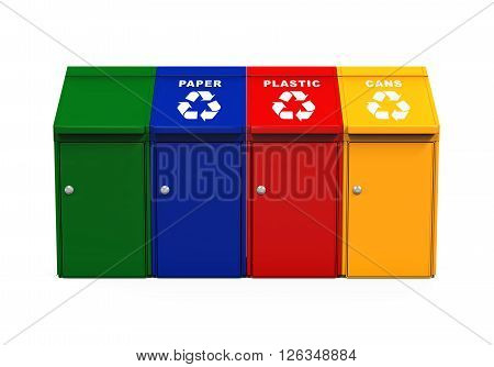 Multicoloured Garbage Trash Bins isolated on white background. 3D render