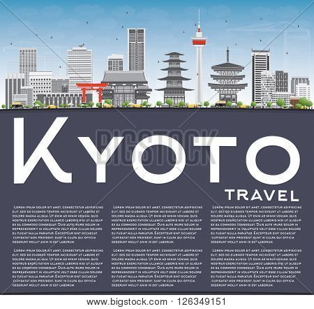 Kyoto Skyline with Gray Landmarks, Blue Sky and Copy Space. Vector illustration. Business Travel or Tourism Concept with Modern and Historic Buildings. Image for Presentation Banner Placard and Web.