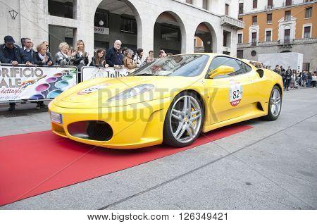 BRESCIA, ITALY - APRILE 17, 2016:500 Miglia. Finish. FERRARI  F430, 2004 built