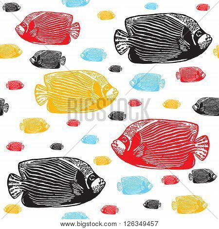 Emperor angelfish colourful seamless vector pattern. Realistic engraved colourful style of fishes on white background.