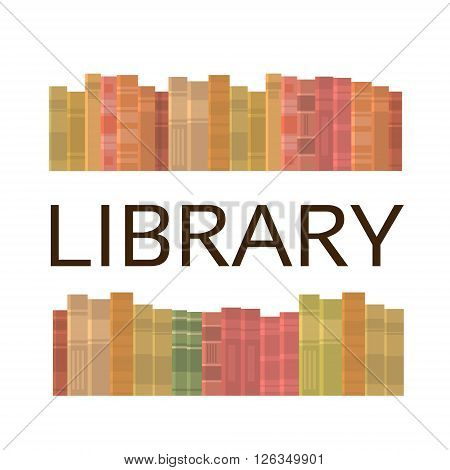 Books Stack Library Reading Bookshelf Copy Space Flat Vector Illustration