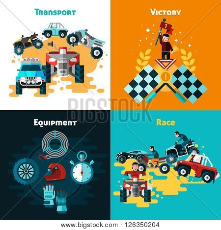 Offroad concept icons set with victory and race symbols flat isolated vector illustration