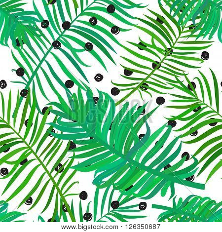 Summer seamless background with green palm leaves on polka dot background. Tropical trendy seamless pattern with exotic palm leaves. Textile pattern.