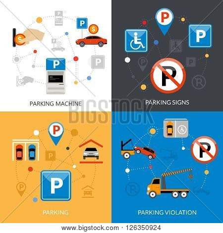 Icon isolated flat conceptual parking set with different aspects of parking process vector illustration